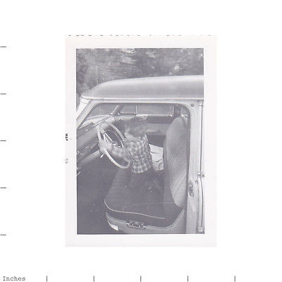 Old Vintage Photo BOY SITTING IN CLASSIC CAR TURNING STEERING WHEEL FUNNY