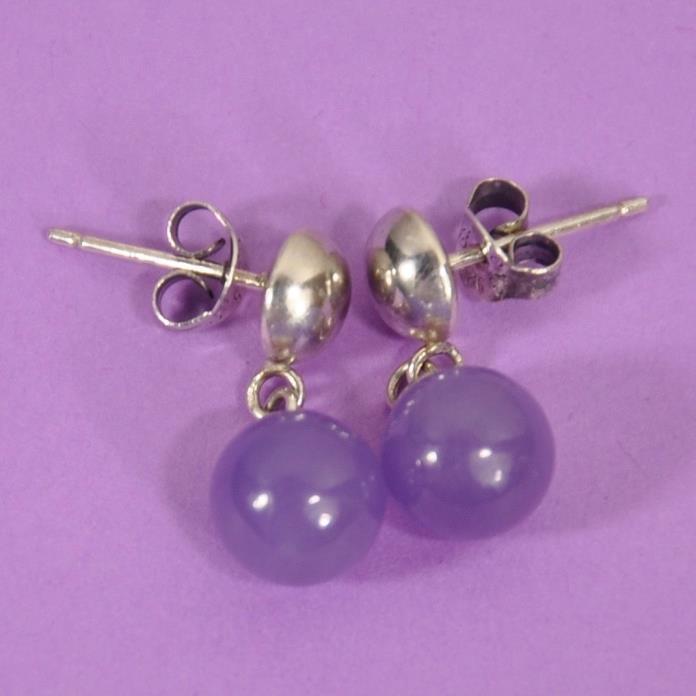 Vintage Sterling Silver Purple Amethyst Earrings   --1506