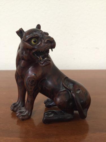 Vintage Carved Wood Art Tiger Statue Figurine