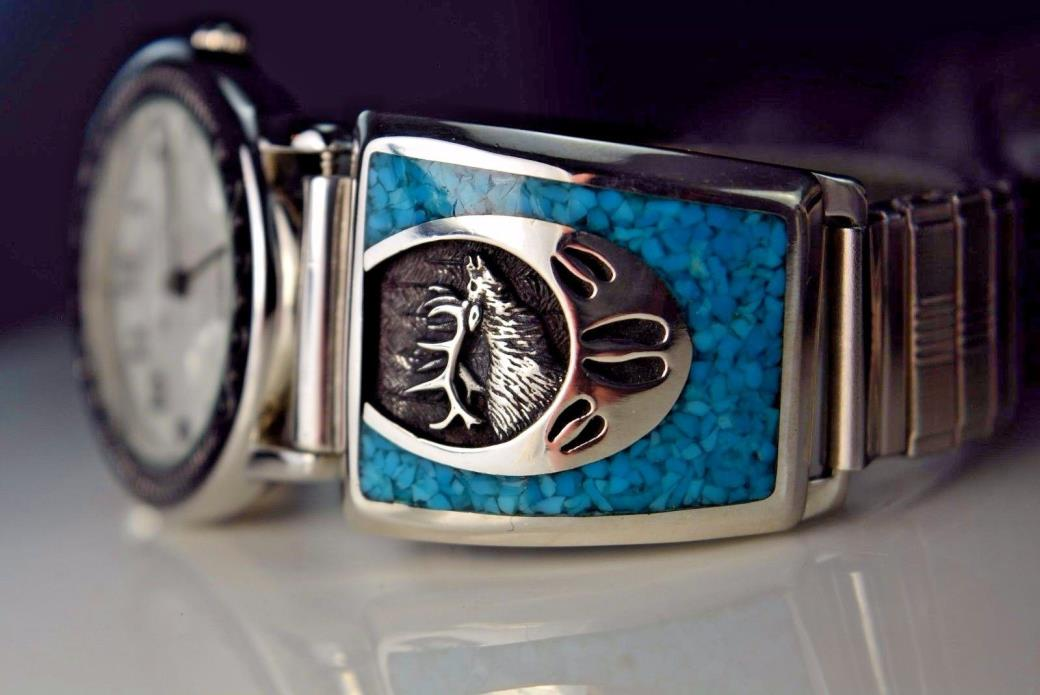 Sterling silver ELK watch tips with stunning & detailed features & Turquoise