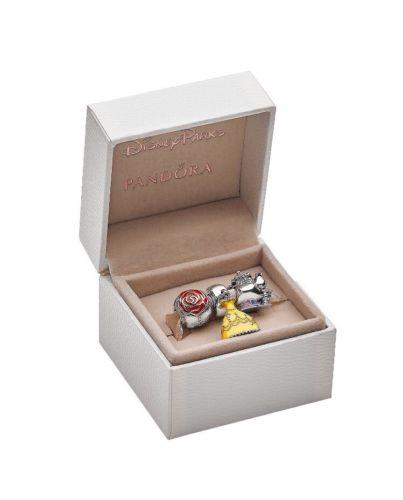 Disney Parks Pandora Beauty And The Beast Rose Bracelet Charms Jewelry Set NEW