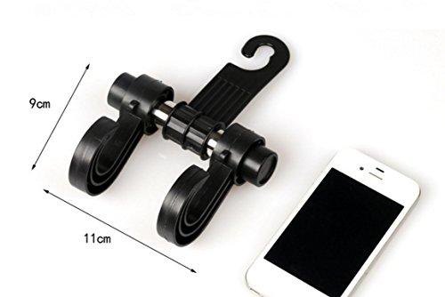 Black Car Seat Headrest Hanger 360 Rotation Storage Hooks - Purse Handbag