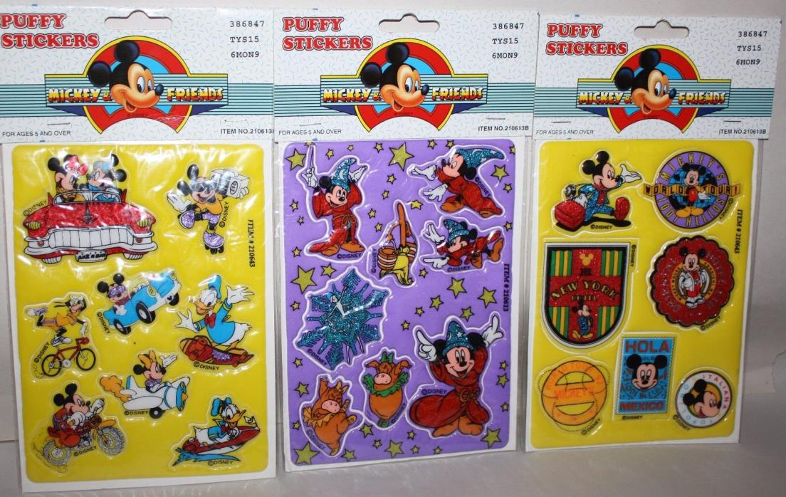 3 packs Disney's Mickey & Friends PUFFY STICKERS Mickey Mouse & Fantasia