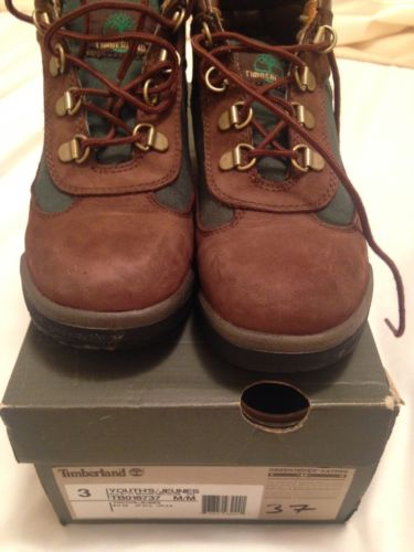 Boys Kids Size 3 Timberland Brown & Green Leather Boots 16737 Hiking With Box