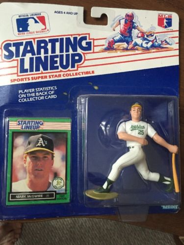 1989 MARK McGWIRE STARTING LINE UP MLB OAKLAND BASEBALL FIGURINE + CARD NRFB NEW