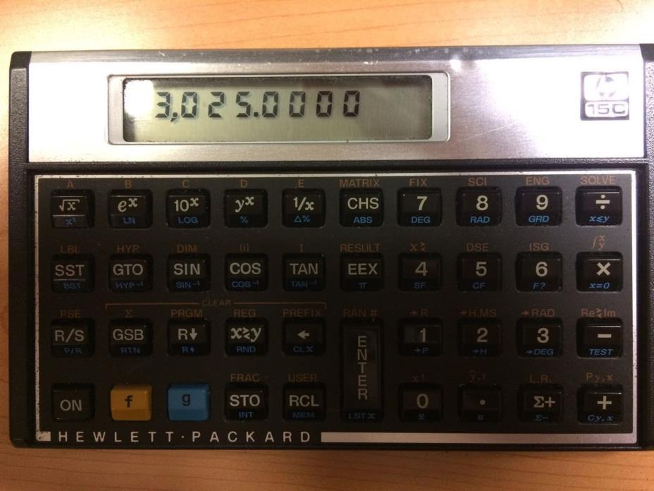 Hewlett Packard HP-15c VINTAGE USA - PROGRAMMABLE CALCULATOR - USED