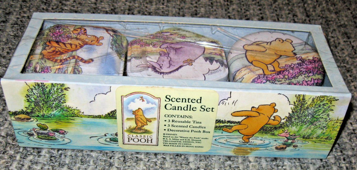 Classic Winnie the Pooh Scented Candle Set Tins Nursery Disney