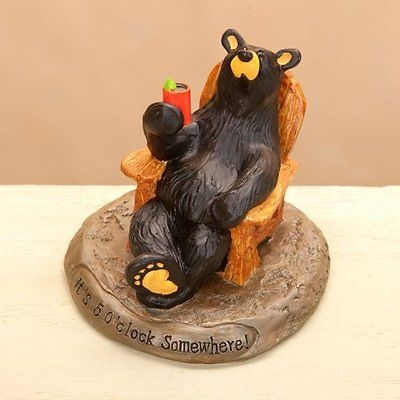 Jeff Fleming Bearfoots 5 Wall Clocks OClock Somewhere Bear Figurine by Big Sky