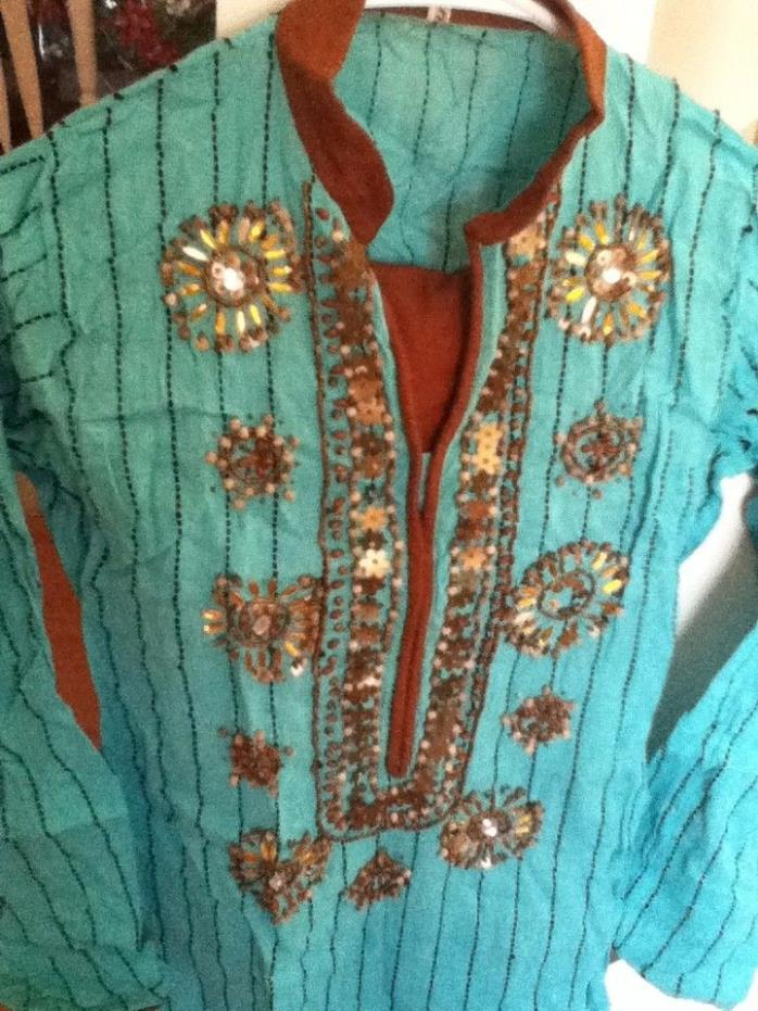 Turquoise and Brown Embroidery Salwar Kameez Dupatta ....