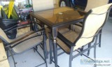quot sq. Glass and Aluminum Bar High Patio Set w chairs