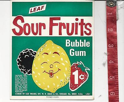 Vintage vending machine display Leaf Sour Fruits 1c Gum card #3 FREE SHIPPING