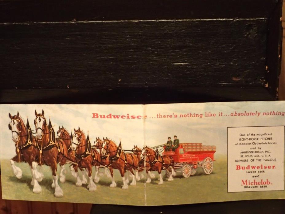 BUDWEISER LAER BEER AND MICHELOB BEER POST CARD CLYDESDAL HORSES LARGE CARD