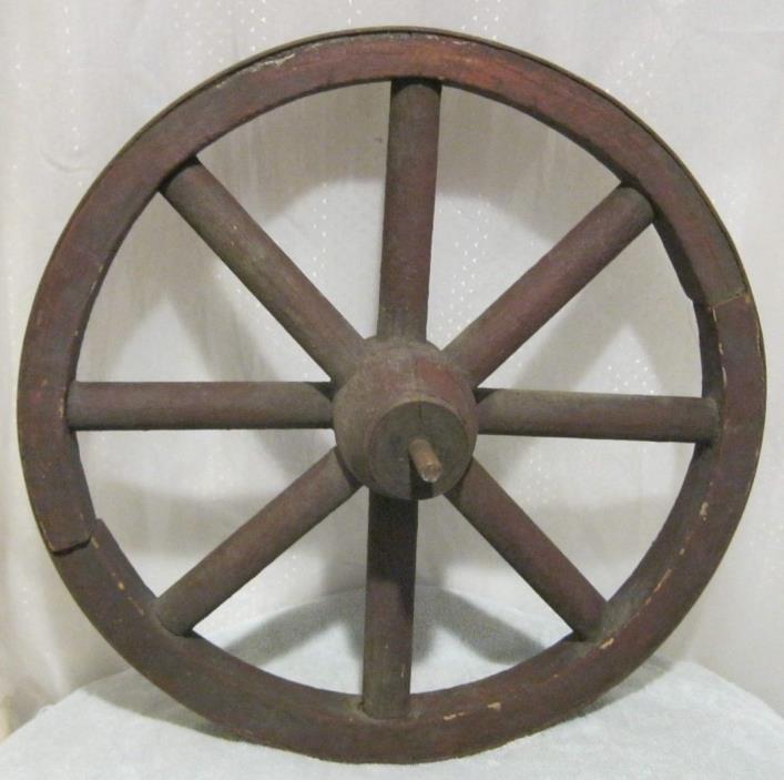 Primitive antique wood wagon wheel 18