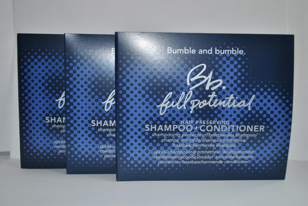 3 x Bumble and Bumble FULL POTENTIAL Shampoo & Conditioner Sample Set