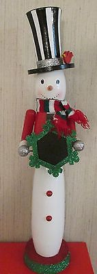 Snowman Nutcracker Frosty Christmas Countdown RED Bird Top Hat Scarf