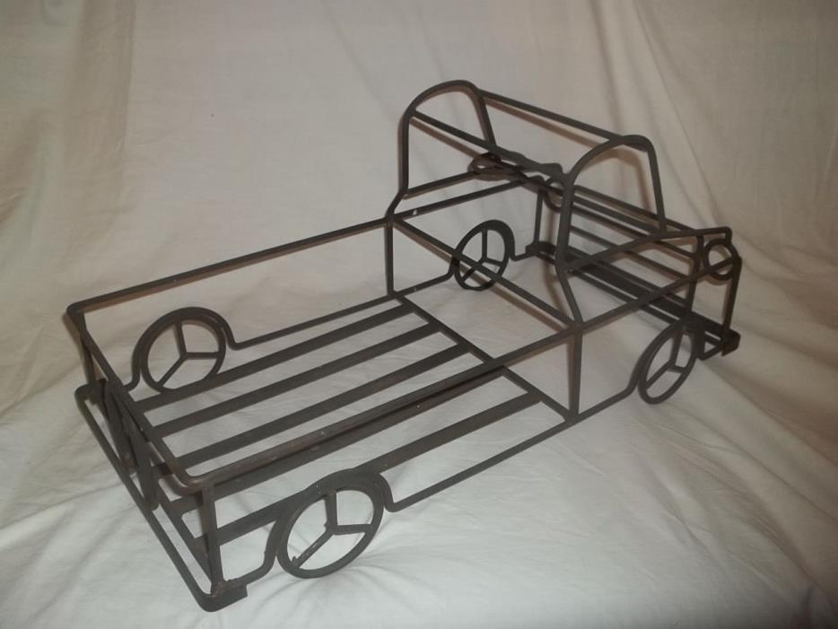 Vtg Very Unique Large Wrought Iron Pickup Truck Plant Flower Stand