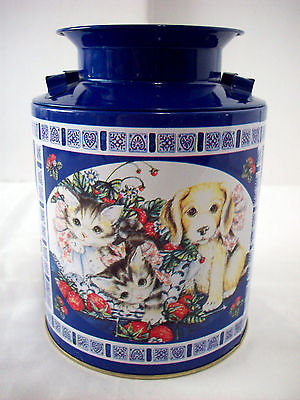 Puppy and Kittens Milk Can tin