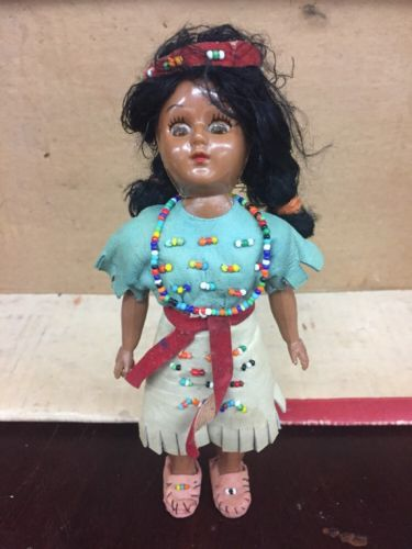Vintage Native American Indian Doll Beaded Suede Clothes Sleepy Eyes