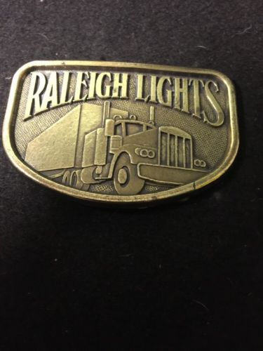 Vintage Brass Trucking Raleigh Lights Belt Buckle Waterbury Buckle Co