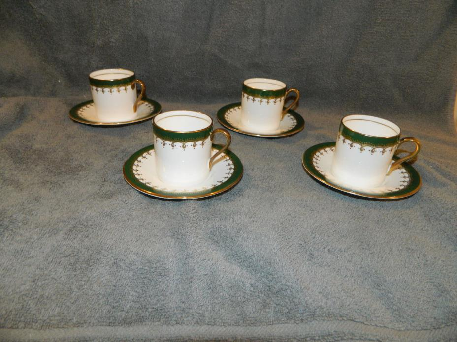 4 Laurette Green Smooth Aynsley England Demitasse Cups and Saucers