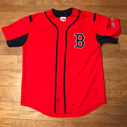 Boston Red Sox Baseball Jersey MLB Stitched Majestic Button Up Large
