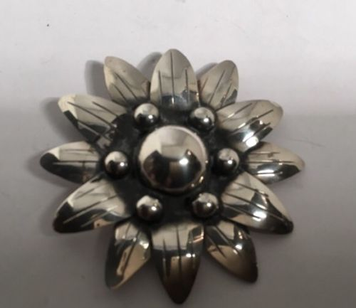 Vintage Mexican Large Hand Wrought Flower Pendant Or Brooch