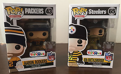 Funko Pop! Football Toys R Us Exclusive Aaron Rodgers and Ben Roethlisberger NEW