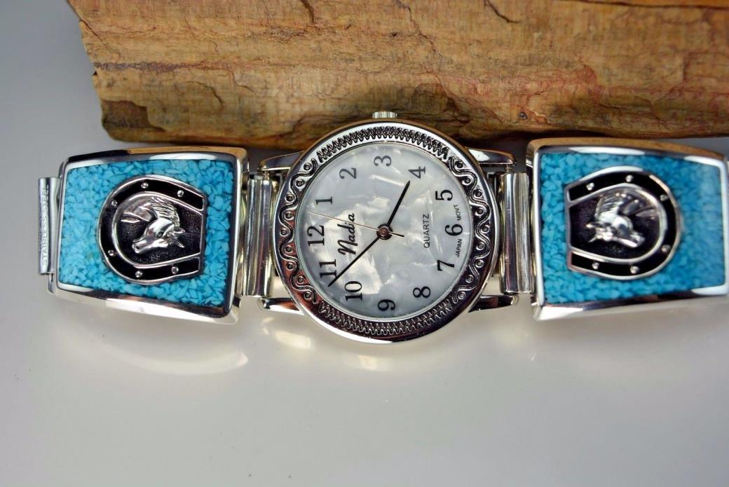 Sterling silver Horse watch tips with stunning & detailed features & Turquoise