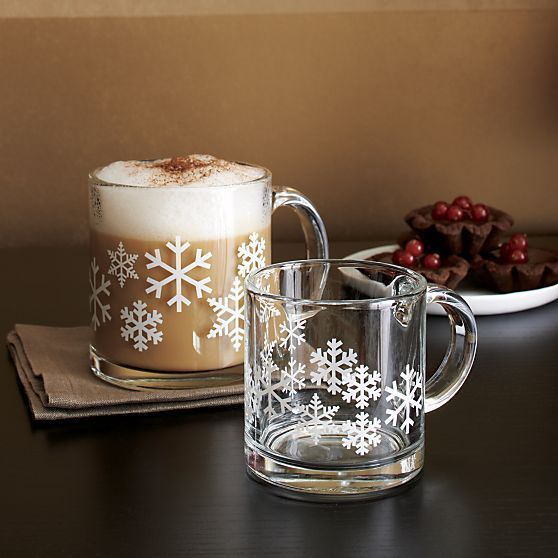 NEW Lot of 2 CRATE & BARREL Snowflake Glass Mug Cup