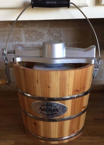 Ice Cream Maker Old fashioned Hand Crank Wood Bucket Original Aroma