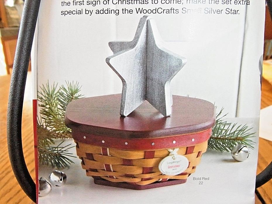 Longaberger 2016 TREE TRIMMING Christmas Basket Lid & Tie On in RED    ~IN HAND~