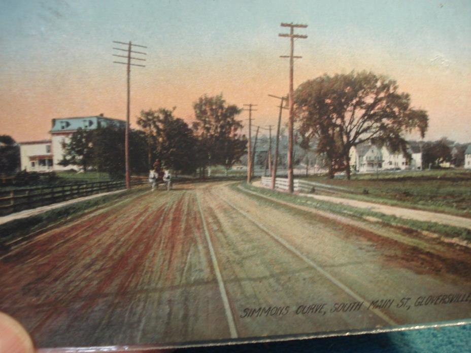Color Lithograph Postcard Simmons Curve South Main St. Gloversville New York