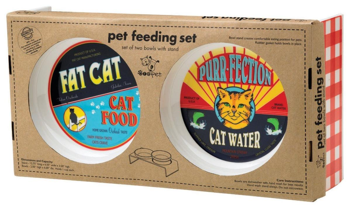 ORE Pet Vintage Cat Feeding Set