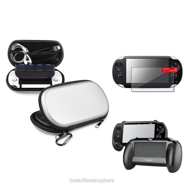 Sony PS Vita Case Silver EVA Cover Black +Hand Grip +Clear Screen Protector NEW