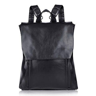 Vbiger Leather Backpack Cute Fashion Handbags Vintage Bags For Women (Black)