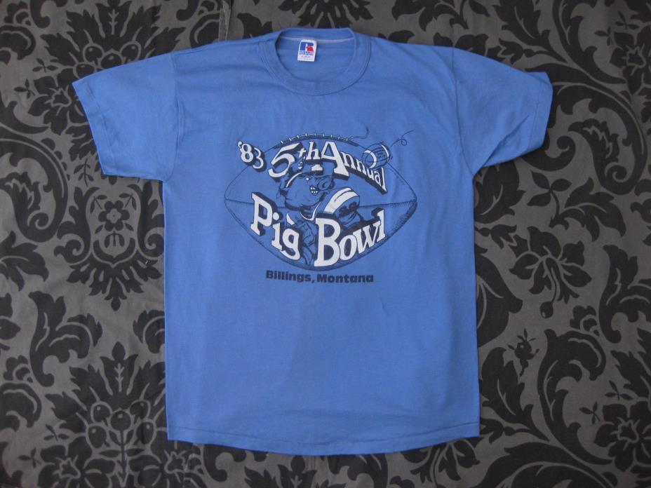 VTG 80s PIG BOWL Billings MT T Shirt Law Enforcement Football Game 5th annual