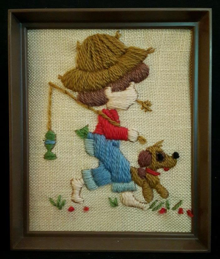 Gone Fishing Crewel Embroidery Finished Summer Fun Boy Dog Framed Fish Pole EUC
