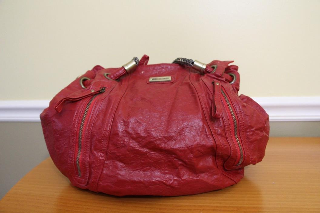 Faux D&G Dolce & Gabbana Red FAUX Leather Shoulder Handbag Hobo Purse