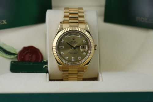 Rolex Day-Date II President 41MM Yellow Gold Diamond & Baguette Markers 218238