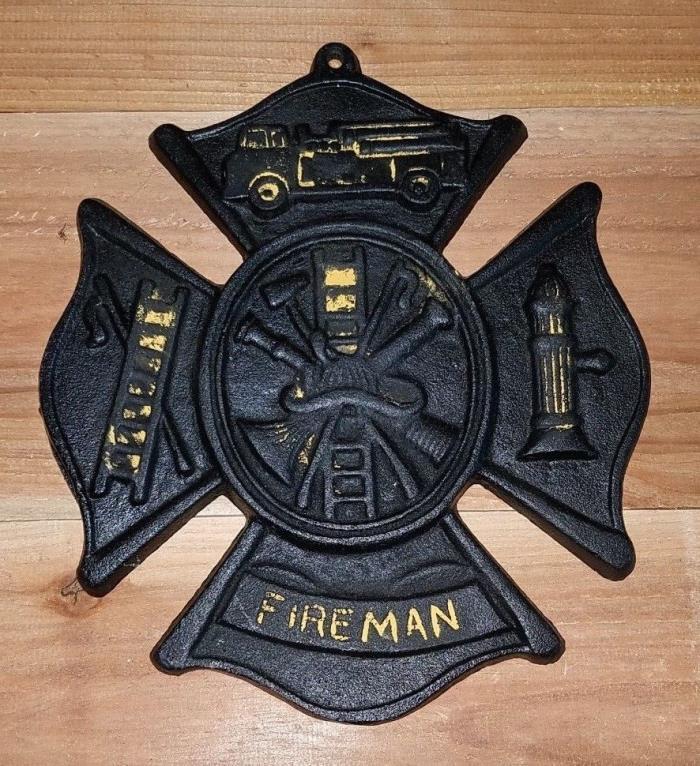 Cast Iron Fireman / Fire Fighter Crest / Cross 8