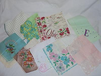 Vintage ladies hankies handkerchiefs lot of 10 Lot #S8