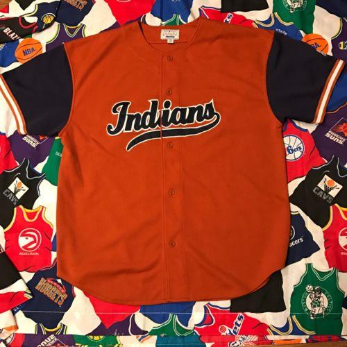 Vintage Cleveland Indians Baseball Jersey MLB Orange Script Stitched Starter 2XL