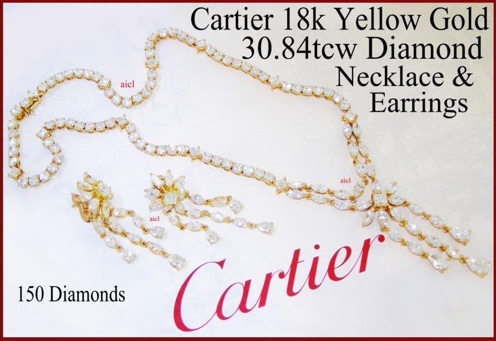 CARTIER 18kYG DIAMOND NECKLACE EARRINGS SET  150 DIAMONDS 30.84tcw CIRCA 1979/80