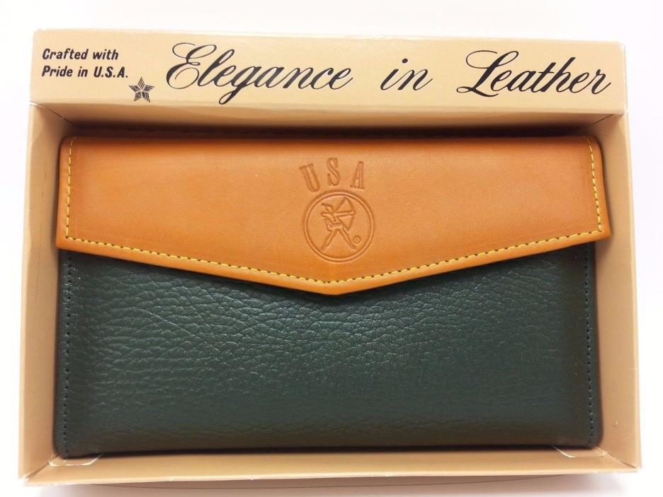 USA Brand Green Tan Misses Snap Wallet Crafted with Pride in U.S.A.