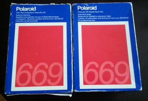 TWO SEALED PACKS ofPolaroid 669 Professional ER Instant Pack Film 16 Prints