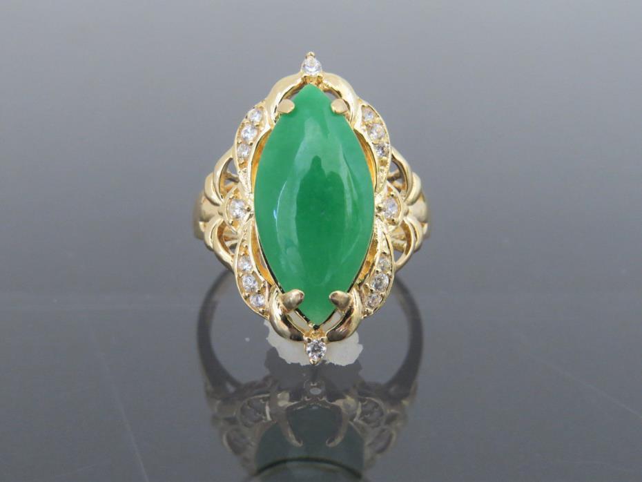Vintage 18K YG Natural Green Jadeite Jade & White Topaz Marquise Ring Size 6.5