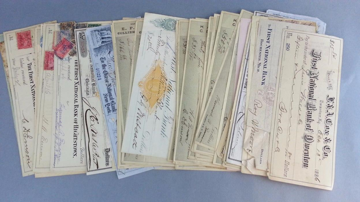 Lot 50 Antique Checks 1800s 1900s United States Stamps Papers Collection USA Old