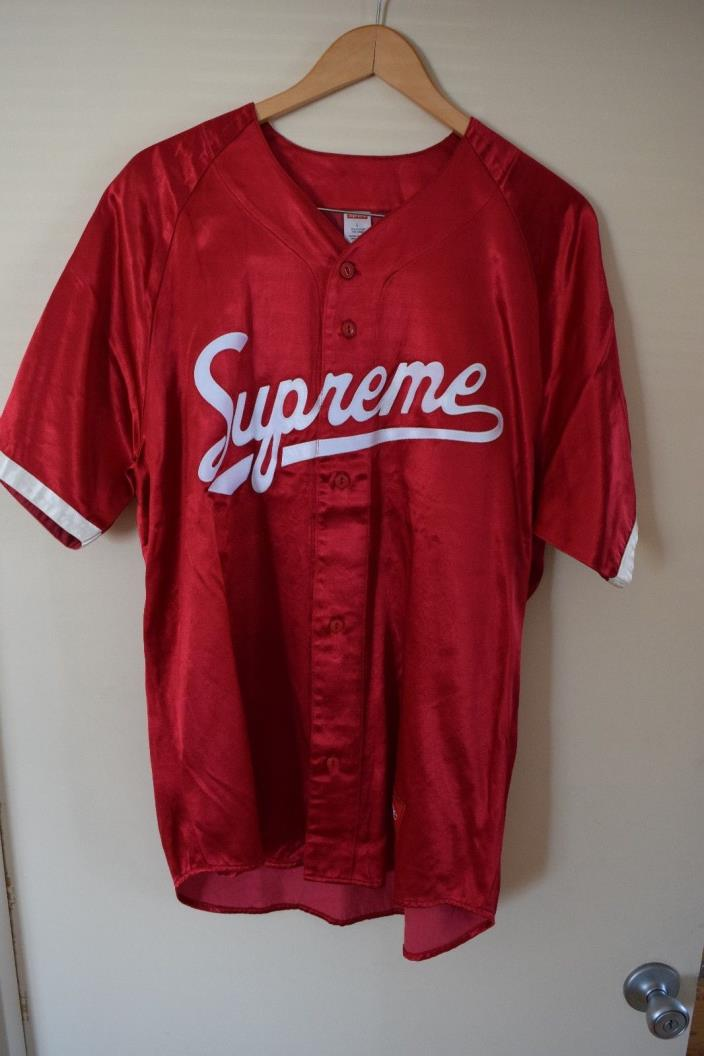 BRAND NEW SUPREME SATIN BASEBALL JERSEY SIZE LARGE SS17 COLLECTION PALACE YEEZY