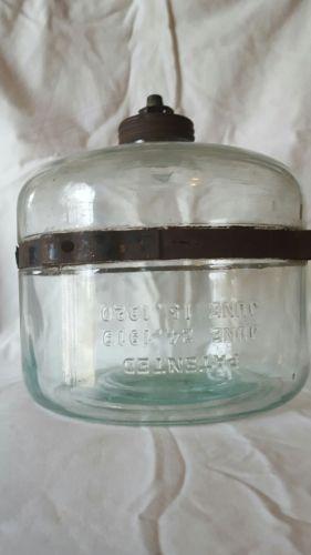 Vtg Glass Jar/Bottle~Fuel Oil Drip Dispenser/Reservoir~Kerosene Perfection Stove