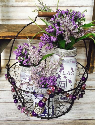 Shabby Chic Mason Jars In Basket